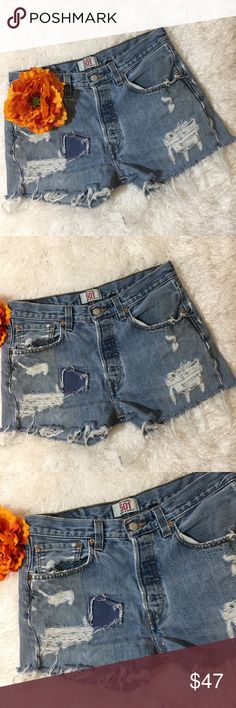 {Levi's 501} Light Button Fly Distressed Shorts Levi's 501 Light wash distressed denim jean shorts! Has a hard stain near the crotchets due to an iron! Size Medium! Levi's Shorts Jean Shorts