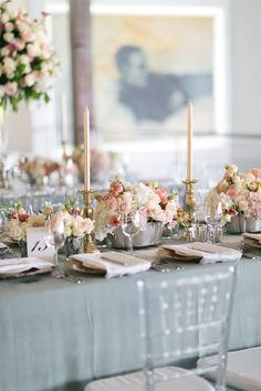 Beautiful wedding styling details in duck egg blue, soft pinks and gold Styling, florals and production: Splendid Wedding Company Photography: Tyme Photography