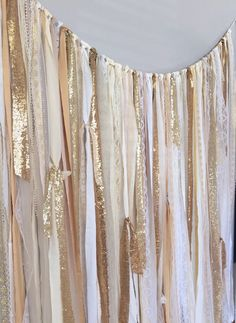 Shades of Gold Sequin & Lace Ribbon Sparkle Wedding Backdrop Fabric Garland - Curtain - Rustic Glam - Fabric Fringe Shades of Gold Sequin & Lace Ribbon Sparkle Wedding by ohMYcharley. Bridal Shower Table Decorations, Bridal Shower Tables, Bridal Shower Photos, Decoration Cocktail, Fabric Garland, Curtain Fabric, Ribbon Curtain, Fabric Backdrop, Photo Booth Backdrop