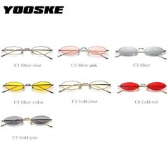 eaae66797f YOOSKE Small Oval Sunglasses Women Men Retro Metal Glasses Transparent Pink  Yellow Lens Female UV400 Okulary