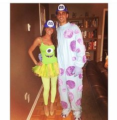 Homemade Mike and sully Monster's Inc DIY Couples costume #disney #halloween | Instagram @ohmygodbbecky