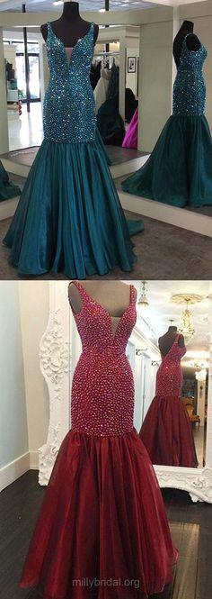 Boutique Prom Dresses Mermaid, Long Party Dresses V-neck, Organza Evening Formal Dresses Beading Modest