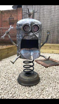 Obedient accomplished diy welding projects ideas Register now Metal Sculpture Artists, Steel Sculpture, Welding Art Projects, Metal Art Projects, Metal Yard Art, Scrap Metal Art, Minion Fire Pit, Miller Welding Helmet, History Of Welding