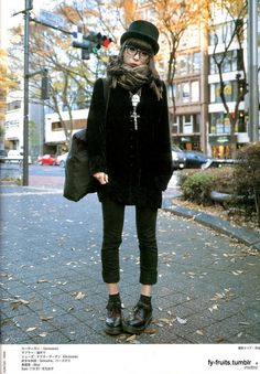 Japanese street style - love the details like the hat and that cool skull necklace