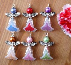 6x-Angel-Charms-Pendants-Lucite-Flower-Beads-Silver-Wings-2-Tones-White