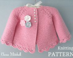 Discover thousands of images about Knitting PATTERN Baby Jacket Baby Cardigan Garter stitch Knit Crochet Baby Cardigan, Baby Cardigan Knitting Pattern, Baby Knitting Patterns, Baby Patterns, Knit Crochet, Crochet Pattern, Bernat Baby Sport Yarn, Baby Girl Jackets, Garter Stitch