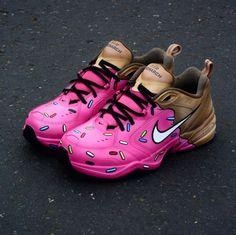The 50 Best Nike Air Monarch Customs - 'Doh-nuts' by Shme Custom Kicks Custom Sneakers, Custom Shoes, Sunflower Vans, Nike Air Monarch, Dad Shoes, Behind The Scenes, Air Jordans, Kicks, Nba Fashion