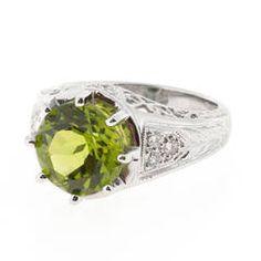 Peridot Diamond Platinum Filigree Ring