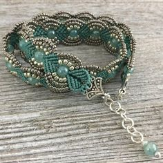Your place to buy and sell all things handmade - Teal & Silver Beaded Wrap Bracelet Macrame Jewelry Art Deco Bracelet Beaded Bracelet Art Deco J - bisuteria # Beaded Bracelets Tutorial, Beaded Wrap Bracelets, Handmade Bracelets, Beaded Earrings, Handmade Jewelry, Embroidery Bracelets, Diy Jewelry, Jewelry Bracelets, Art Deco Schmuck
