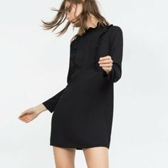 ffb0a63e ZARA WOMAN Black Ruffle Long Sleeve Shift Mini Dress Size S Mock Neck 03K # Zara #ShiftDress #PartyCocktail