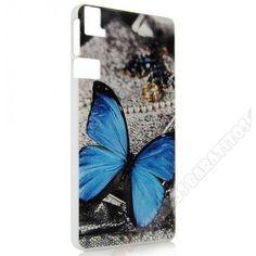 Carcasa plástica diseño divertido mariposa azul para móvil Aquaris E6