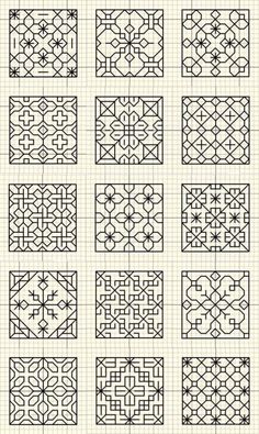 Beginning Cross Stitch Embroidery Tips - Embroidery Patterns - BLACKWORK bitty patterns You are in the right place about fabric crafts handmade Here we offer you - Motifs Blackwork, Blackwork Cross Stitch, Blackwork Embroidery, Cross Stitching, Cross Stitch Embroidery, Embroidery Patterns, Hand Embroidery, Cross Stitch Patterns, Machine Embroidery