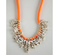 Noir neon orange jeweled fabric necklace  statement necklace
