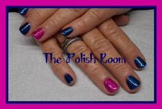 Blue nails, pink glitter, artistic colour gloss, gel polish, natural nails, nail art, manicure