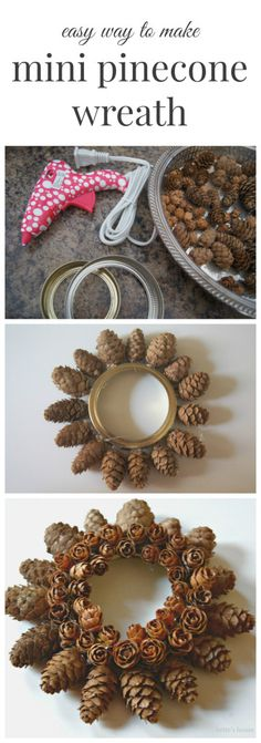 Make an easy mini pinecone wreath using tiny pinecones and a mason jar lid as your base. Pine Cone Art, Pine Cone Crafts, Wreath Crafts, Christmas Projects, Pine Cones, Holiday Crafts, Diy Crafts, Noel Christmas, Handmade Christmas