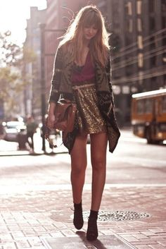 Sequin Skirt + Print Sweater