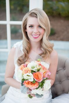 Beautiful coral and orange bouquet for Alice in Wonderland wedding inspiration, Newhall Mansion, Touch of Gold Events, Wisteria Lane Floral Design Studio and Becca Rillo Photography | via junebugweddings.com