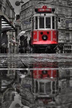 Black white gray and red - pera&nostalji ~ Istanbul, Turkey by e&e photography Splash Photography, Black And White Photography, Street Photography, Urban Photography, Color Photography, Black And White Colour, Black White Photos, Color Splash, Color Pop