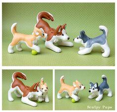 Husky family dog sculptures by SculptedPups.deviantart.com on @DeviantArt