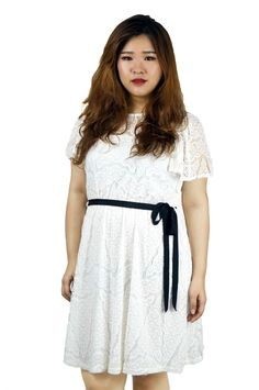 All Over Lace Belted White Dress https://www.lovflaunt.sg/