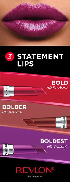 You don't need a special occasion for a statement lip. Dare to go bold every day with Revlon Ultra HD Gel Lipcolor™. It's lightweight, comes in 15 high-definition shades and makes lips feel moisturized. - Go BOLD with a statement red that shows them you mean business at work. - Get BOLDER with a brown lip for brunch. - Be the BOLDEST on ladies night and stand out with a purple pout. Brown Lip, Revlon, Beautiful Lips, Lip Art, Lip Makeup, Makeup Tips, Makeup Products, Lipstick Colors, Lip Colors