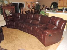 Chestnut Leather Theater Quad Reclining Sectional Sofa*WE SHIP ANYWHERE* #Modern