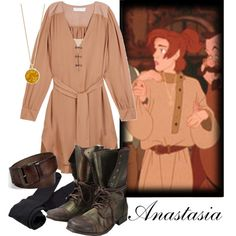 A fashion look from August 2013 featuring beige dress, Plush hosiery and laced up boots. Browse and shop related looks. Disney Themed Outfits, Disney Inspired Fashion, Character Inspired Outfits, Disney Fashion, Anastasia Cosplay, Anastasia Dress, Anastasia Movie, Anastasia Musical, Nerd Fashion