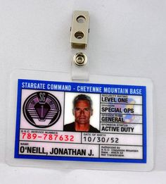 Stargate Command SG-1 ID Badge-Jack O Neill cosplay prop costume