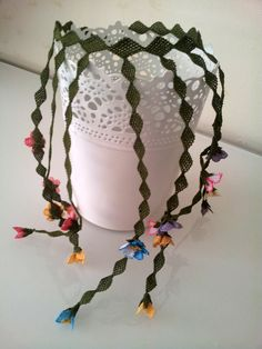 Pink Green Yellow Flowers NecklaceStatement by berratosun on Etsy, $80.00