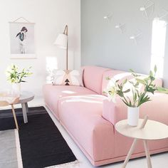 Pink sofas always steal the show