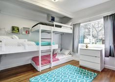 White girls bedroom with triple bunk beds