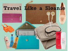 Travel like a Sloanie. Carry-on essentials for traveling in style.  Mulberry pouch, leather luggage tags, cashmere blanket sets... travel chic!