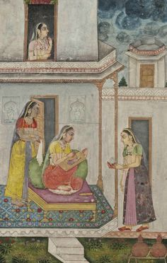 """A LADY DRAWING A PORTRAIT   PROVINCIAL MUGHAL, INDIA, LATE 18TH CENTURY   Possibly an illustration to a ragamala series (""""musical mode""""), dhanashri ragini, opaque and transparent pigments and gold on paper, depicting a lady drawing a portrait, seated on a terrace between attendants, a stormy sky above them, laid down between gold and polychrome rules with floral margins, mounted, framed and glazed  10 7/8 x 7 7/8in. (27.6 x 20.1cm.)"""