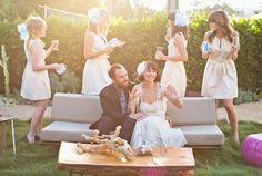 love these bridesmaid dresses and ban.do accessories all around!  #feelpretty #pompoms #shopbando