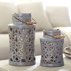 Fretwork Decorative Jar | With a scrolling, open cutout pattern, this decorative, handled canister is crafted of glazed ceramic.