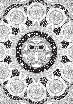 Night Owl Mandala - Colour with Me HELLO ANGEL - coloring, design, detailed, meditation, coloring for grown ups, owls