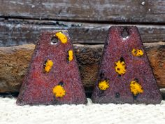 Funky Maroon Triangle Enamel Earring Charms for by BlueHareartwear
