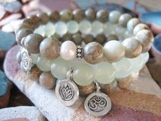 Mala Bead inspired Yoga Bracelets, New Jade & Aqua Terra Jasper by Merkaba Warrior