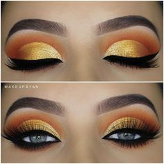 Awesome gold eyes makeup - make up - Eye-Makeup Gold Eyeliner, Gold Eye Makeup, Makeup Eye Looks, Skin Makeup, Eyeshadow Makeup, Easy Eyeshadow, Cute Eyeshadow Looks, Eyeshadow Palette, Cut Crease Eyeshadow