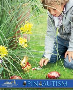 Egg Hunts are a favorite Easter tradition of mine! I do this every year with my cousin, Justin, who has autism. Please repin these images from Lindt so they donate to Autism Speaks   [I just donated 1 dollar to the Autism cause by pinning this photo.  Learn how you can #Pin4Autism too by clicking on the image above.]    Photo: Julia Hoersch for LINDT