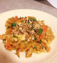 Chicken Satay Spaghetti Squash with Thai Peanut Sauce