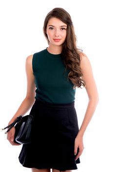 TSW Merly Sleeveless Top in Forest Green | The Stage Walk
