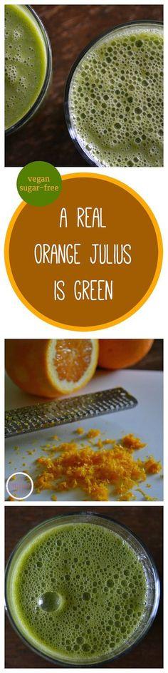 "Skip the sugar and funky powder and make your own ""Orange Julius"" at home. An Unrefined Vegan. #vegan #sugarfree #glutenfree"