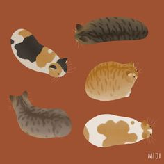 Cat Loaves Art Print by miji lee - X-Small Art And Illustration, Illustrations, Guache, Cute Animal Drawings, Cat Wallpaper, Cat Tattoo, Cat Drawing, Cat Art, Art Reference
