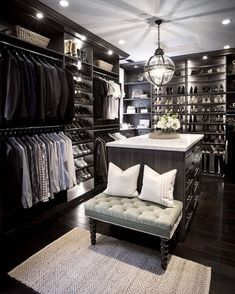 Master Bedroom Closet- his and hers walk-in closet inspiration by Jeff Trotter Design (IG: Walk In Closet Design, Closet Designs, Diy Walk In Closet, Master Closet Design, Master Closet Layout, Closet Tour, Garderobe Design, Walking Closet, Walking Wardrobe Ideas