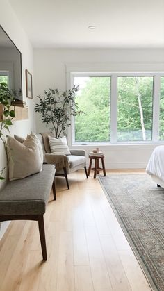 Primary bedroom decor reading nook | House & Roses Grey Accent Chair, Grey Chair, Accent Chairs, Casual Mom Style, Reading Nook, Grey Fabric, Apartment Living, Townhouse, Dining Bench
