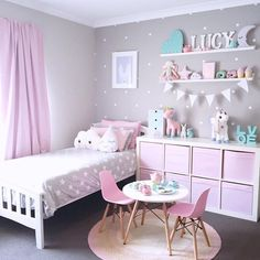 White shelving unit with pink clothe totes. Hang on wall to create space ? Put shelf on wall on the side of bed for pictures and decor and hang spice racks ... & Cute Ideas to Decorate a Toddler Girlu0027s Room | Pinterest | Toddler ...