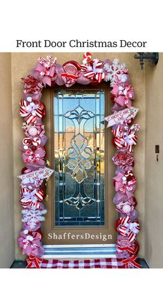 Front Door Christmas Decorations, Christmas Front Doors, Christmas Lights, Christmas Holidays, Christmas Wreaths, Christmas Balloons, Christmas Garden, Outdoor Decorations, Christmas Gingerbread