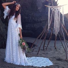 vintage lace long boho wedding dresses 2016 o neck half sleeve a line beach Bridal Gown for wedding party vestido de noiva-in Wedding Dresses from Weddings & Events on Aliexpress.com | Alibaba Group