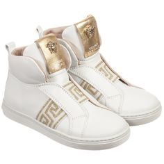 Young Versace - White & Gold Leather High-Top Sneakers | Childrensalon